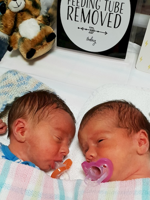 twins in hospital given dummies