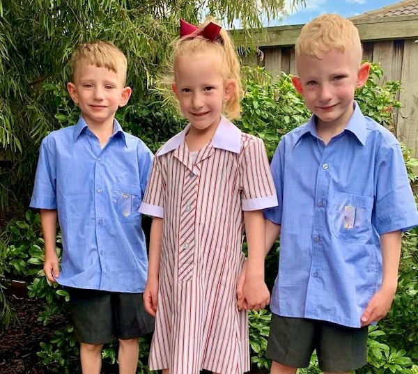 triplets starting at school